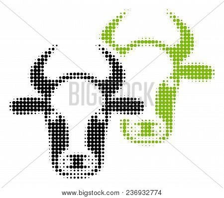 Livestock Halftone Vector Pictogram. Illustration Style Is Dotted Iconic Livestock Icon Symbol On A