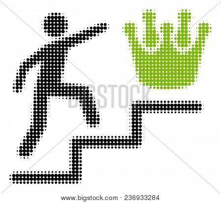 Person Steps To Crown Halftone Vector Pictogram. Illustration Style Is Dotted Iconic Person Steps To
