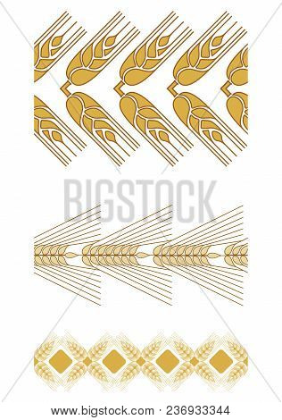 Seamless Pattern Brush Made Of Ornamental Grasses. Golden Ears Will Decorate Any Composition. To Mak