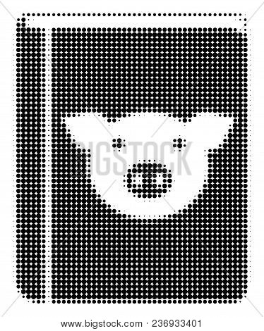 Pig Book Halftone Vector Pictogram. Illustration Style Is Dotted Iconic Pig Book Icon Symbol On A Wh