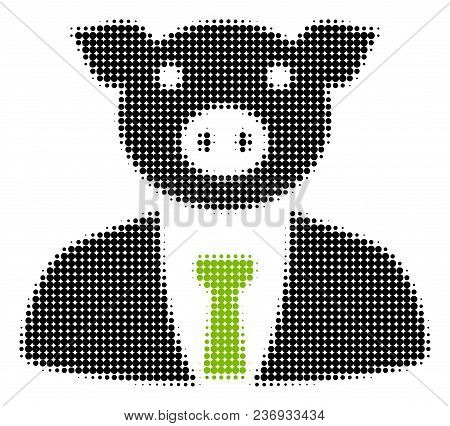 Pig Boss Halftone Vector Icon. Illustration Style Is Dotted Iconic Pig Boss Icon Symbol On A White B