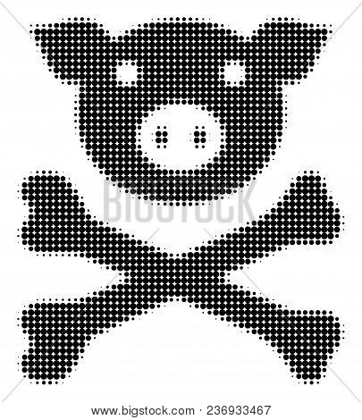 Pig Death Halftone Vector Icon. Illustration Style Is Dotted Iconic Pig Death Icon Symbol On A White