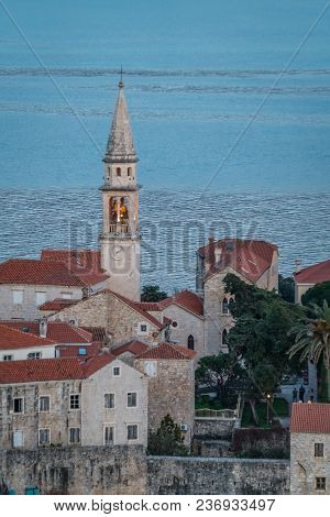 View Of Church Of St Ivan, Budva Old Town, Mountains And Sea. Montenegro