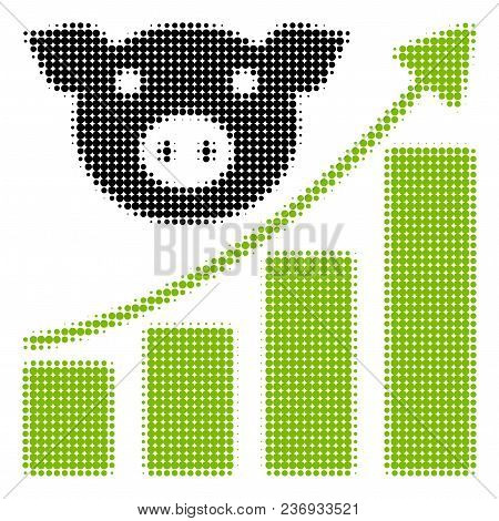Pig Growing Chart Halftone Vector Icon. Illustration Style Is Dotted Iconic Pig Growing Chart Icon S