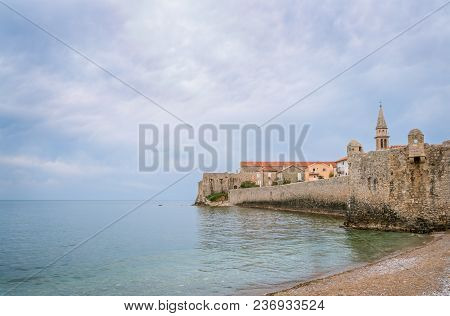 High Walls Of The Old Town Fort In Budva, Montenegro