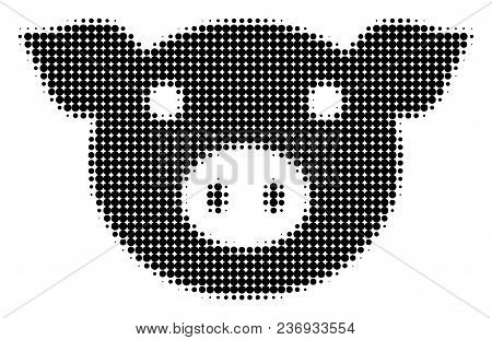 Pig Head Halftone Vector Icon. Illustration Style Is Dotted Iconic Pig Head Icon Symbol On A White B