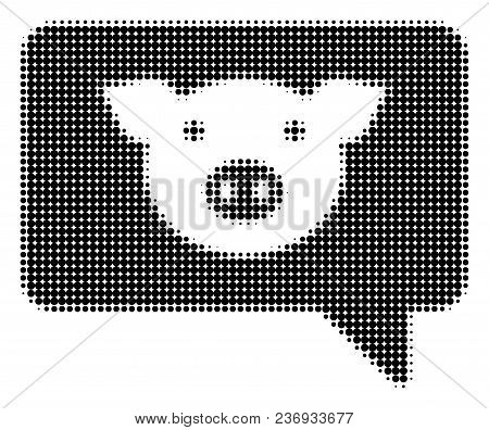 Pig Message Halftone Vector Icon. Illustration Style Is Dotted Iconic Pig Message Icon Symbol On A W