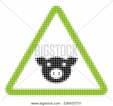 Pig Warning Halftone Vector Icon. Illustration Style Is Dotted Iconic Pig Warning Icon Symbol On A W