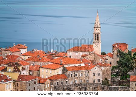View Of The Tall Church Of St Ivan In Budva Old Town,  Montenegro