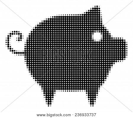 Piggy Halftone Vector Icon. Illustration Style Is Dotted Iconic Piggy Icon Symbol On A White Backgro