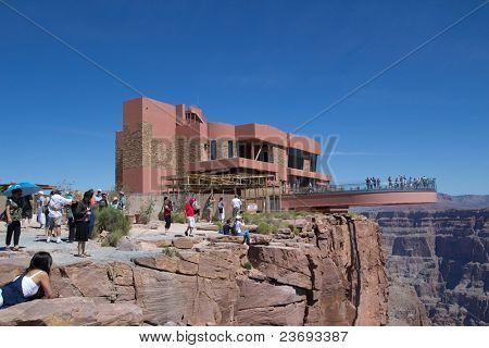 GRAND CANYON WEST, AZ - AUG 16: Tourist visit The Skywalk at the West Rim of the Grand Canyon on August 16, 2011. The Skywalk is suspended four thousand feet above the Colorado River.