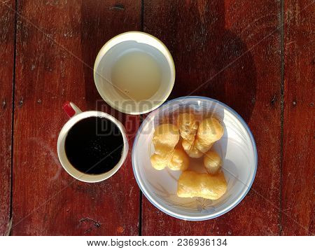 Patongko Or Deep Fried Dough Stick And Coffee Asian Breakfast Set,thai Food Usually Eat In The Morni
