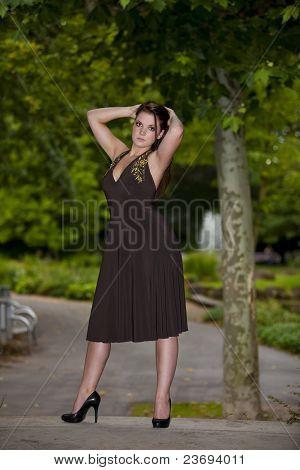 cool looking brunette woman