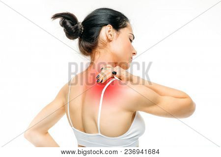 Joint pain, woman have problem with neck, white background. Female person in white lingerie, back view, medical advertising or concept