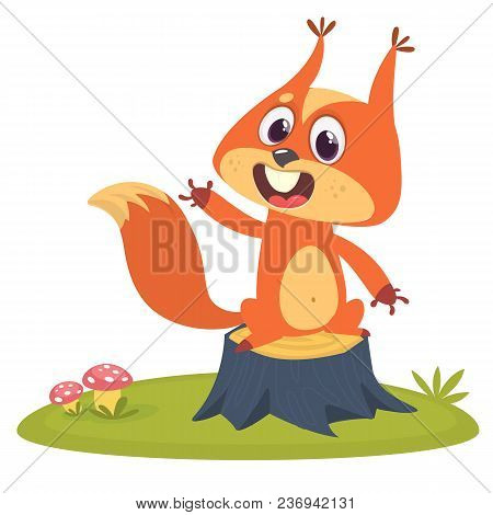 Cartoon Squirrel On Tree Stump In Summer Season Background. Vector Illustration