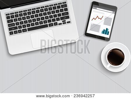 Minimal Office With Computer And A Cup Of Coffee, Vector Illustration.
