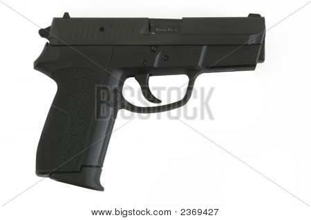 9Mm Semi Automatic Handgun Isolated On White