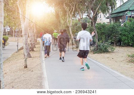 Jogging At The Park Healthy In The Morning And Evening.