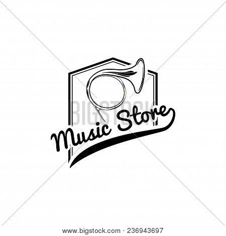 French Horn Icon. Mesic Store Logo Emblem. Musical Instrument. Vector Illustration