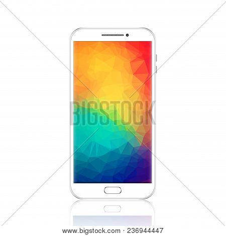 Modern Smartphone With Geometric Polygonal Screensaver. Realistic Detailed White Cellphone, Mobile P