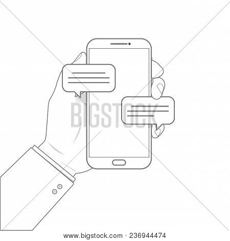 Outline Drawing Mobile Phone Chat Message Notifications Vector Illustration Isolated On Color Backgr