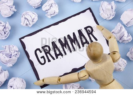 Handwriting Text Writing Grammar. Concept Meaning System And Structure Of A Language Correct Proper