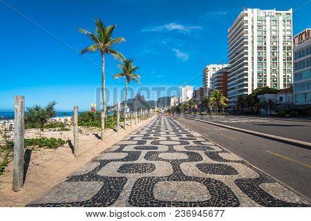 Famous Ipanema Sidewalk In Rio De Janeiro, Brazil