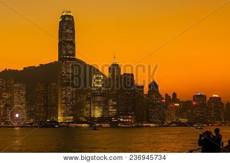 Victoria Harbour, Hong Kong - December 8, 2016: Sunset View At A Famous Tourist Attraction