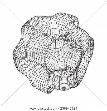 Wireframe Ported Cube. Cube Of Connected Lines. Molecular Lattice. The Structural Grid Of Polygons.