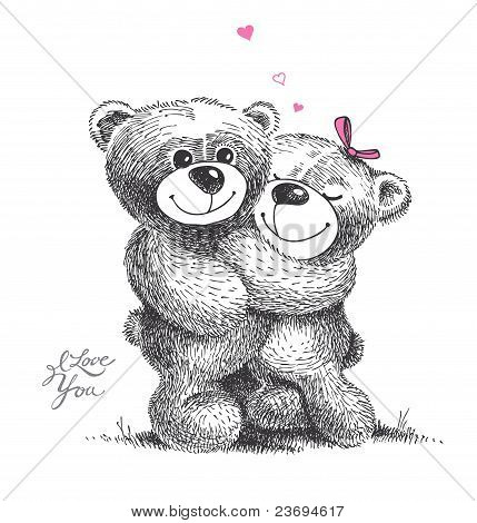 Couple Of Hugging Teddy Bears With Small Hearts. Hand Drawn Illustration.