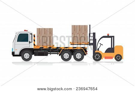Forklift Loading A Truck ,freight Transportation, Packages Shipment, Warehouse Logistics And Cargo L
