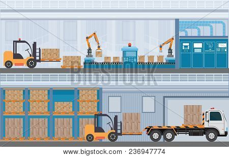 Manufacturing Warehouse Conveyor, Modern Assembly Production Line Industrial,warehouse, Freight Tran