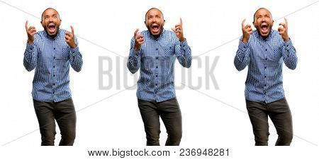 African american man with beard terrified and nervous expressing anxiety and panic gesture, overwhelmed