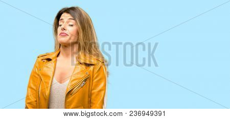 Beautiful young woman having skeptical and dissatisfied look expressing Distrust, skepticism and doubt