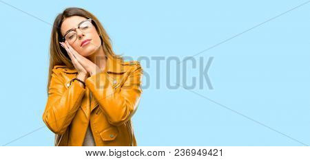 Beautiful young woman tired and bored, tired because of a long day overworking