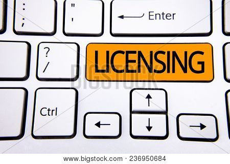 Text Sign Showing Licensing. Conceptual Photo Grant A License Legally Permit The Use Of Something Al