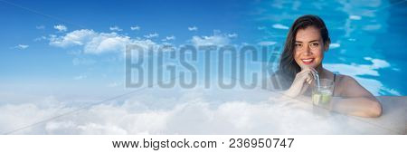 Woman in Swimming pool with sky transition