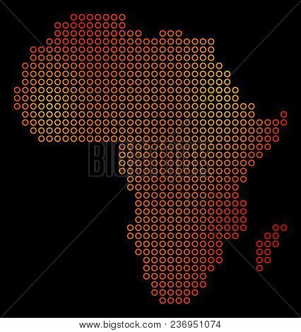 Dot Orange Africa Map. Vector Territory Map In Orange Color Tinges On A Black Background. Vector Pat