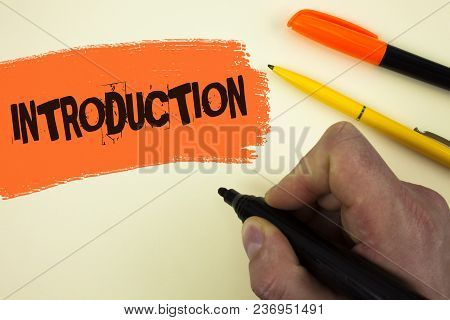 Writing Note Showing  Introduction. Business Photo Showcasing First Part Of A Document Formal Presen