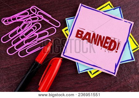 Word Writing Text Banned Motivational Call. Business Concept For Ban On Use Of Steroids, No Excuse F