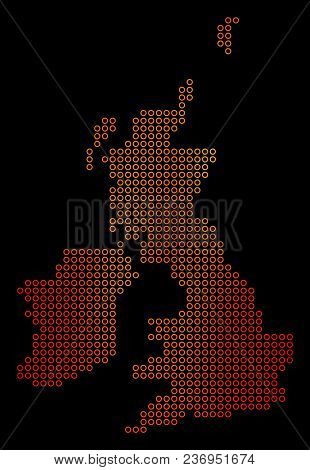 Dot Fire Great Britain And Ireland Map. Vector Geographical Map In Orange Color Tinges On A Black Ba