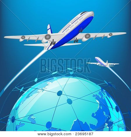 illustration of airplane flying around earth on abstract background poster