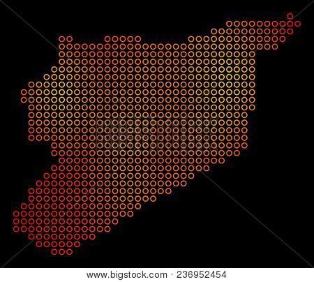 Dotted Fire Syria Map. Vector Geographical Map In Fire Color Hues On A Black Background. Vector Patt