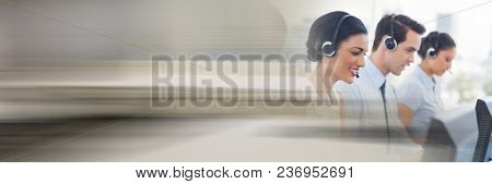 Customer service assistants with headsets with bright background