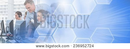Customer service assistants with headsets with tech interface bright background