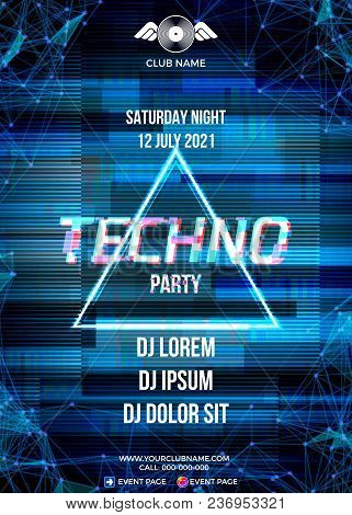 Glitch Party Poster With Blue Background And Triangle For Techno Rave Club Nights. Advertising Leafl