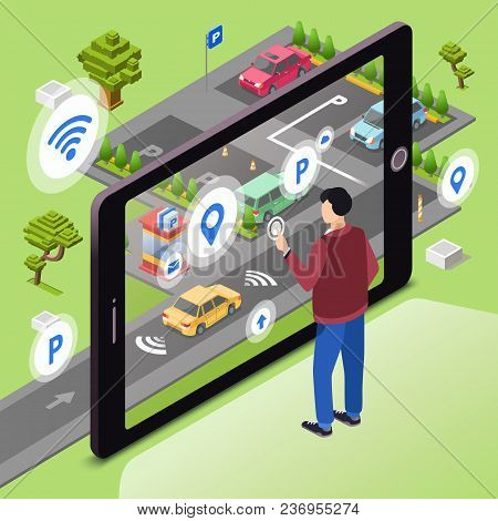 Smart Parking Vector Illustration. Man User With Smartphone Touch Screen Control Car Driving To Park