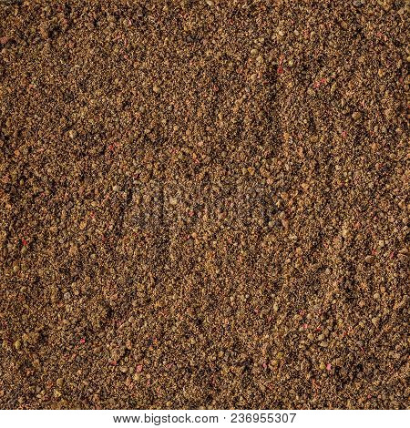 Dried Pepper Spice Background Texture. Top View. Organic Food, Healthy Lifestyle, Space For Text