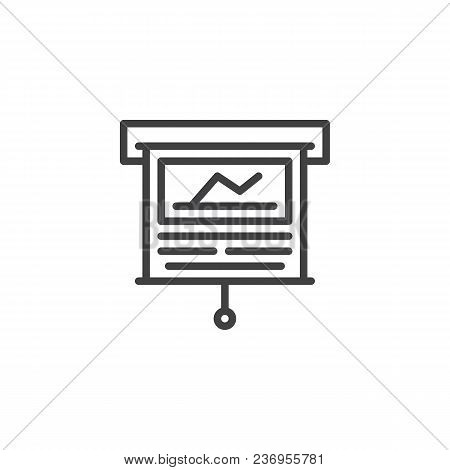 Business Presentation Screen Outline Icon. Linear Style Sign For Mobile Concept And Web Design. Stat