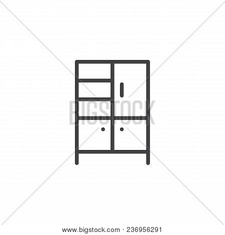 Wardrobe Outline Icon. Linear Style Sign For Mobile Concept And Web Design. Cupboard Simple Line Vec